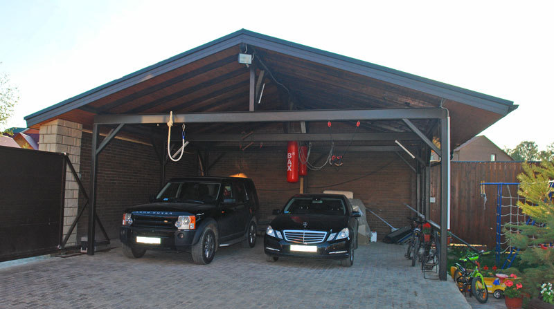 Навес с гаражом для автомобиля своими руками